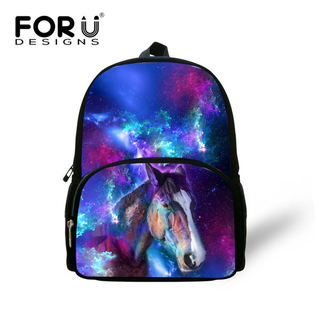 Forudesigns Cool Horse School Bags For Baby Kids Small S Boys Wolf Galaxy Book Bag