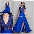 Consideravelmente Azul Royal Cap Manga Curta Vestido de Baile 2017 Uma Linha de V Pescoço Sexy Lace Longo Vestido de Noite Formal vestidos de Festa Vestidos
