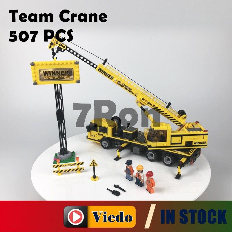 Compatible With lego Blocks Techinc Model building toys hobbies Engineering Construction Team Crane 7079 Educational DIY Bricks 196pcs building blocks urban engineering team excavator modeling design