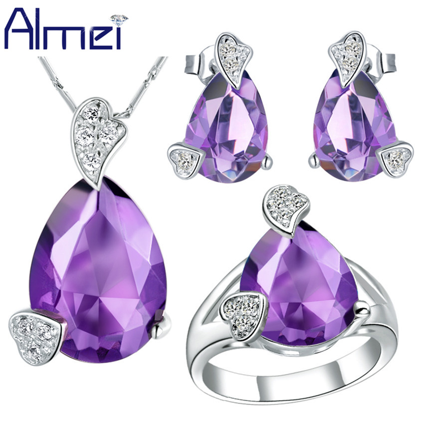 Almei Wedding Ladies Earrings and Necklace Ring Set Conjuntos De Joyas Crystal Jewelry Sets Parure Bijou Blue Jewelery T210