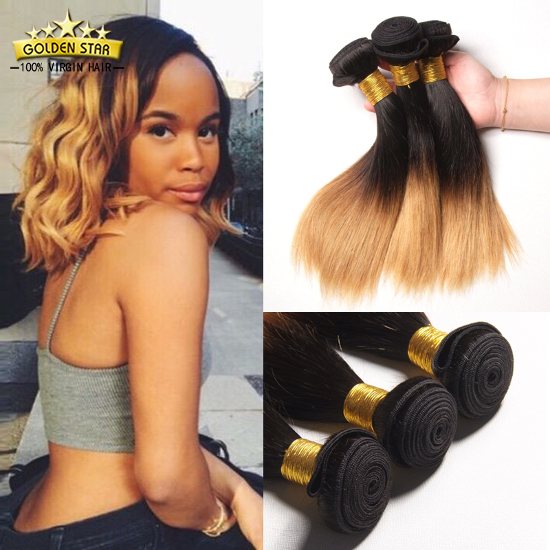 7a Ombre Brazilian Virgin Straight Hair 3 Bundles Short