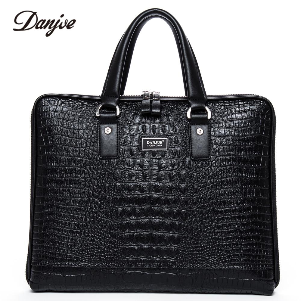 DANJUE Male Briefcase Genuine Leather Crocodile Laptop Bag Totes Men Two Size Man Handbag Fashion Classic Black Business Bag недорого