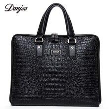 DANJUE Male Briefcase Genuine Leather Crocodile Laptop Bag Totes Men Two Size Man Handbag Fashion Classic Black Business Bag