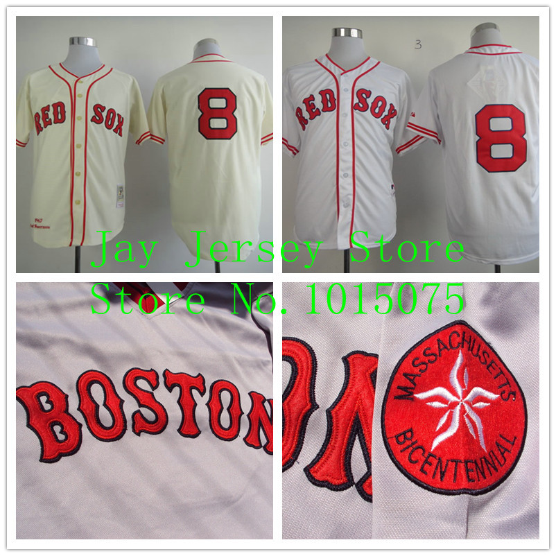 more photos 3ecbe f89bc Carl Yastrzemski Jersey Vintage Cream White Red Sox Jerseys ...