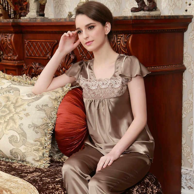 95ea623b8c ... Luxury Couple Pajamas Men Women Sexy Satin Silk Pajama Pants Sets Short-Sleeved  Pyjama Lounge ...