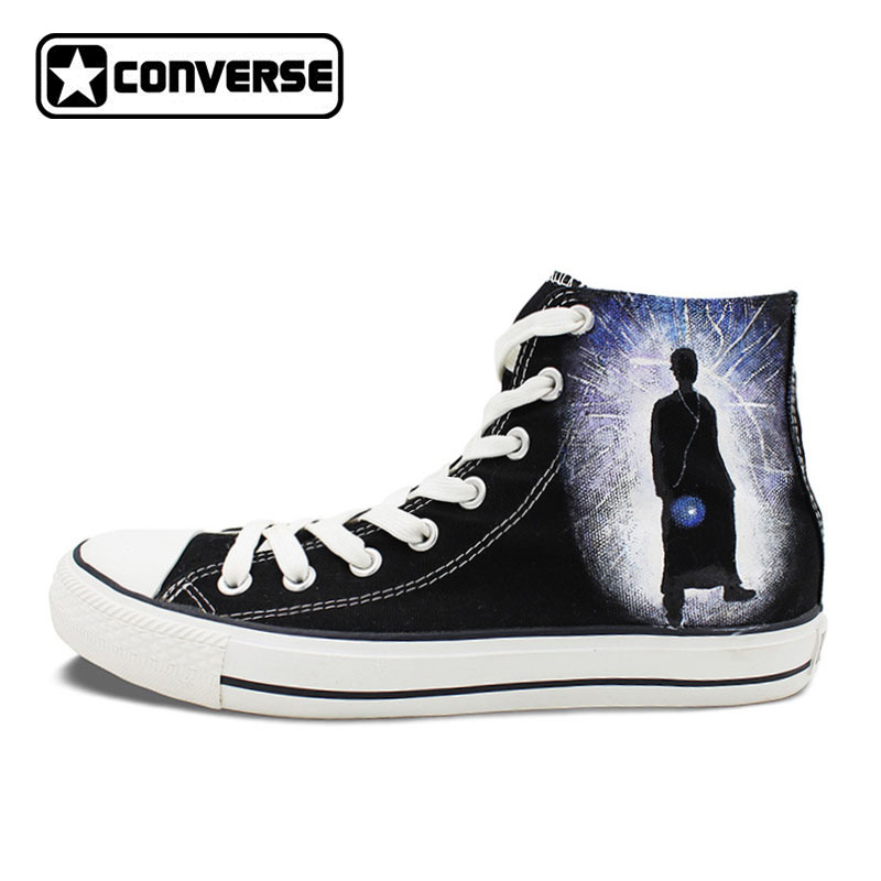 Design Black Converse Chuck Taylor Shoes Hand Painted Police Box Athletic High Top Canvas Sneakers Gifts Presents