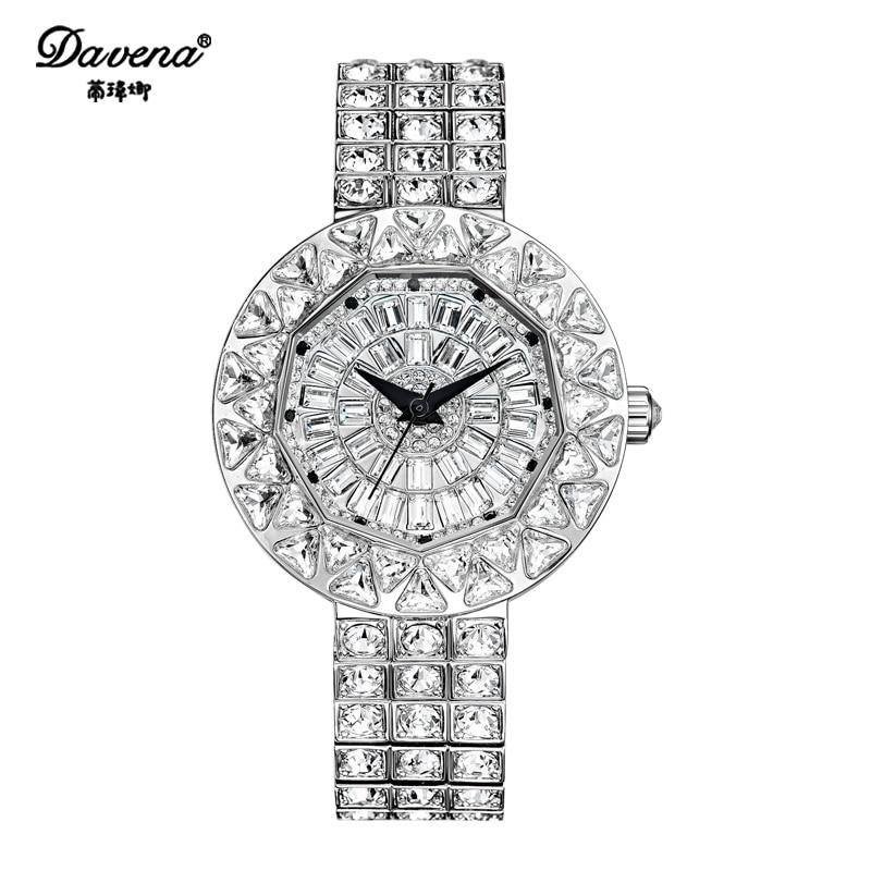 Davena Lady Crystal Watch Women's Hours Top Fashion Dress Bracelet Luxury Full Rhinestones Bling Girl Birthday Gift все цены