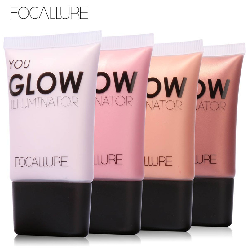 Focallure New Hot Brown Pink White Shimmer Face Bronzer MakeUp Glow Foundation Base Brightener Liquid Highlighter Skin Perfector