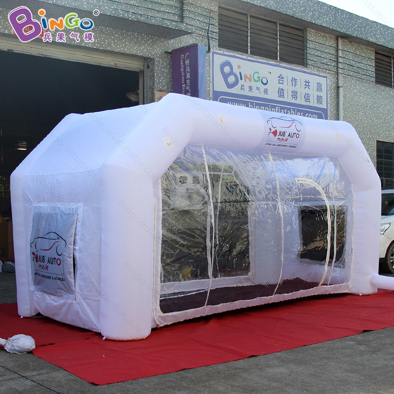 Customized white color 5X2.4X2.5 meters inflatable paint room hot sale air blown paint mixing room toy tents
