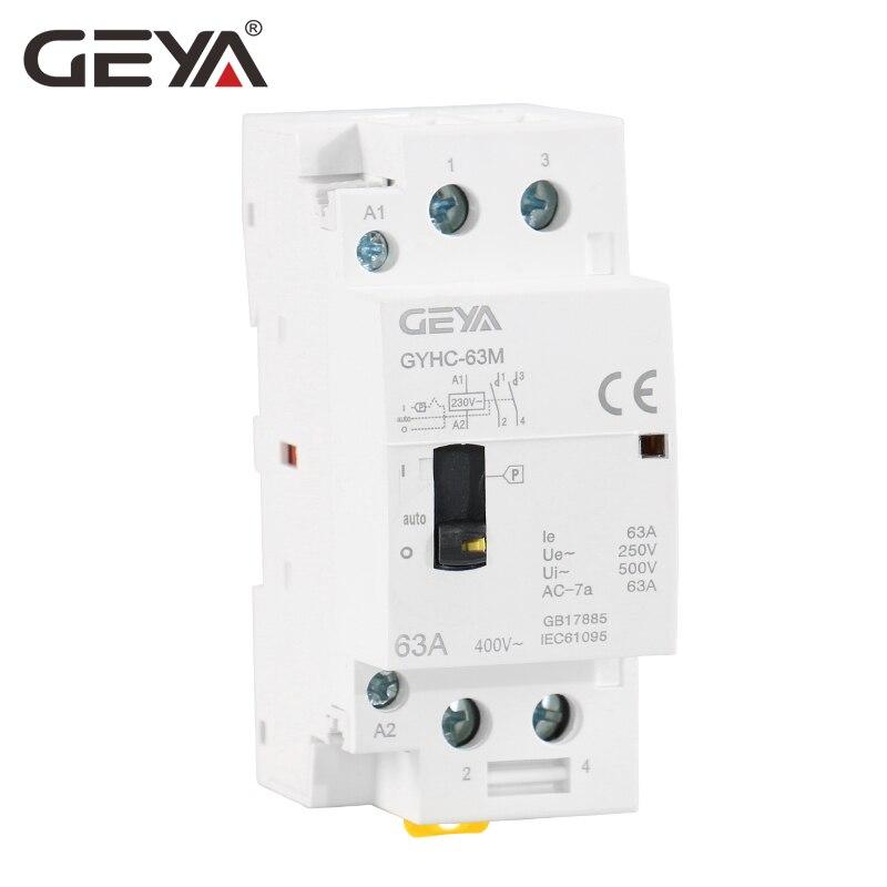 Livraison Gratuite GEYA GYHC 2 P 40A 63A 2NO Manuel Ménage Modulaire Montage Sur Rail DIN AC Contacteur AC220V 230 V manuel de Contrôle