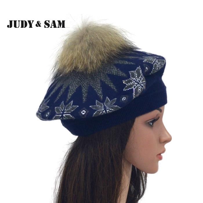 Winter Angora Blend Real Raccoon Fur Pom Pom Women Knitted Beret Hat Lady Skullies Cap Fashion Beanies Hat For Women mink skullies hat beret knitted hat women winter gorgeous 2294