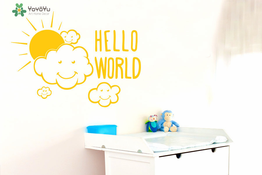 Clouds Wall Decal Sun Pattern Quotes Hello World Vinyl Wall Stickers For Kids Rooms Kid Nursery Home Decor Cute DIY Mural SY280