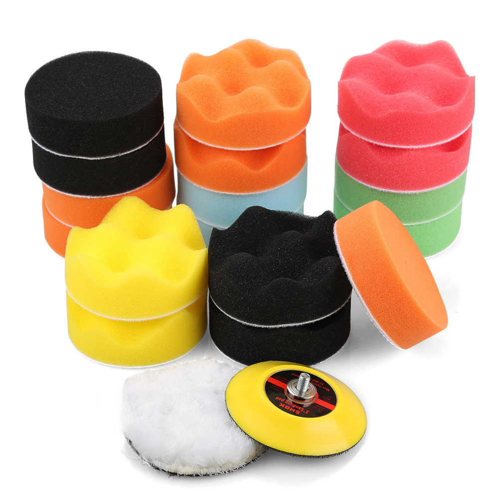 19PCS Polishing&Buffing Pads Kit Wax Applicator with Polishing Pads Woolen Pads for Car Polisher 3