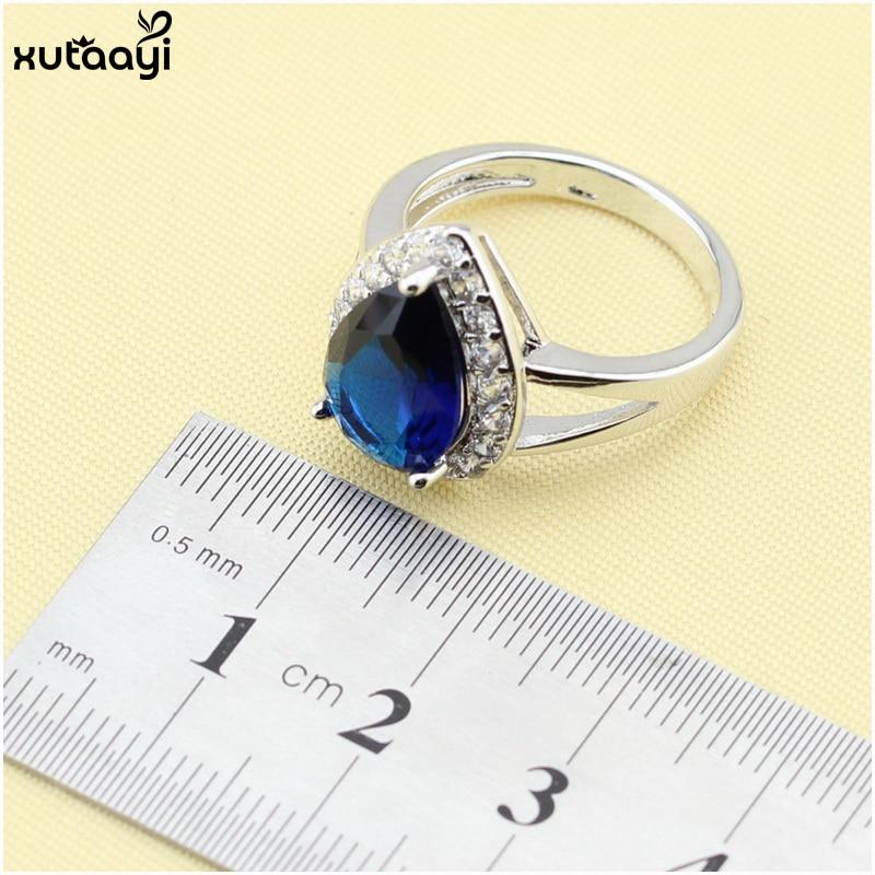 XUTAAYI Ən yüksək keyfiyyətli 925 gümüş zərgərlik, mavi - Moda zərgərlik - Fotoqrafiya 5