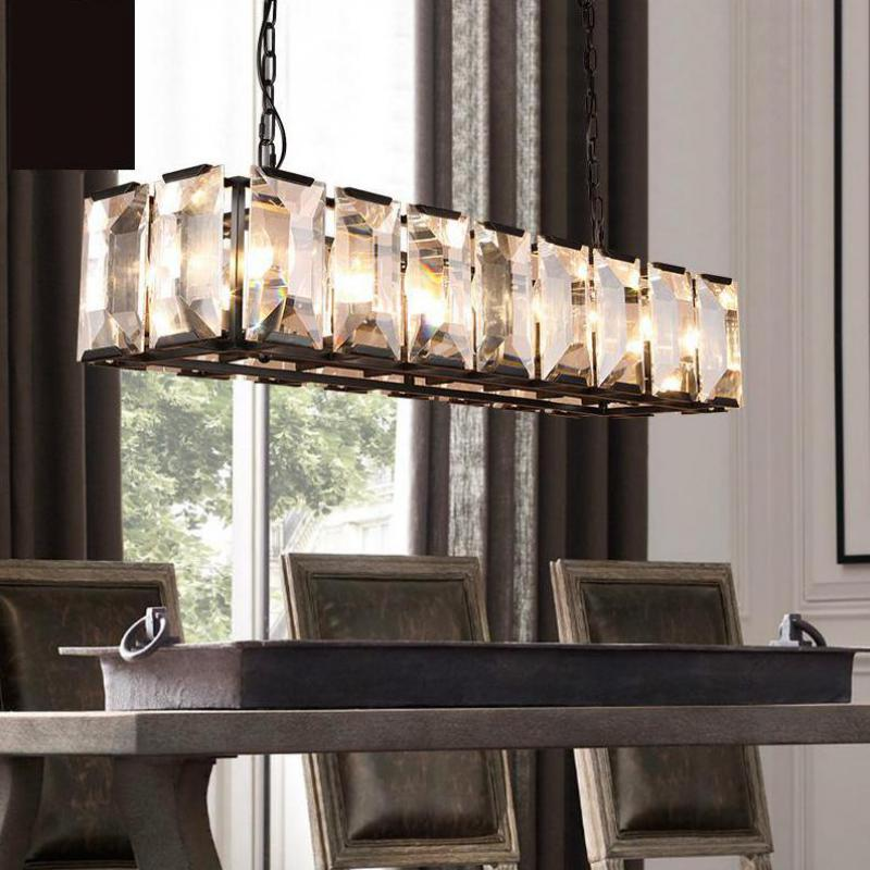 Modern large rectangular crystal lamp living room led - Living room cafe menu philadelphia ...