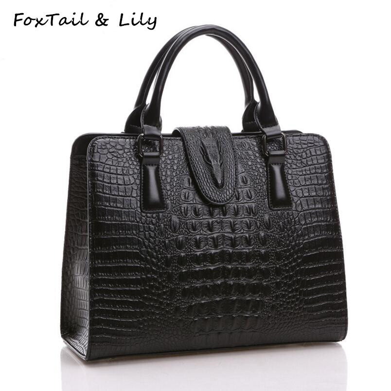 FoxTail & Lily Crocodile Pattern Äkta Läderväska Women Shoulder Messenger Väskor Luxury Famous Designer Handbags High Quality