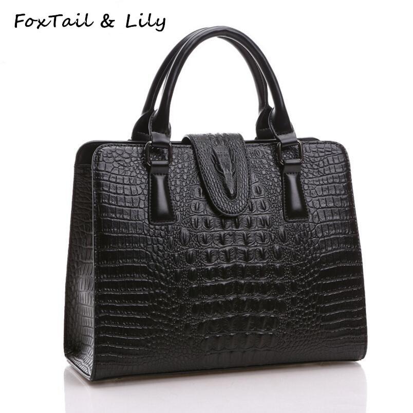 FoxTail & Lily Crocodile Pattern Genuine Leather Bag Women Shoulder Messenger Bags Luxury Famous Designer Handbags High Quality