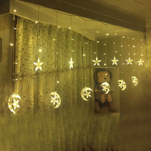 Ice Led String strip light Moon stars 138leds 250CM Length Fairy Lights Christmas Window Curtains Party