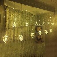 Ice Led String strip light Moon stars 138leds 250CM Length Fairy Lights Christmas Window Curtains Party Wedding Decor KQ