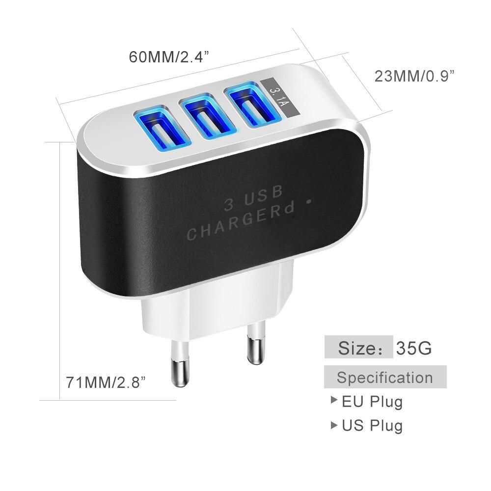 3 port USB şarj cihazı 2A EU batareya şarj cihazına qoşulan - Cib telefonu aksesuarları və hissələri - Fotoqrafiya 4
