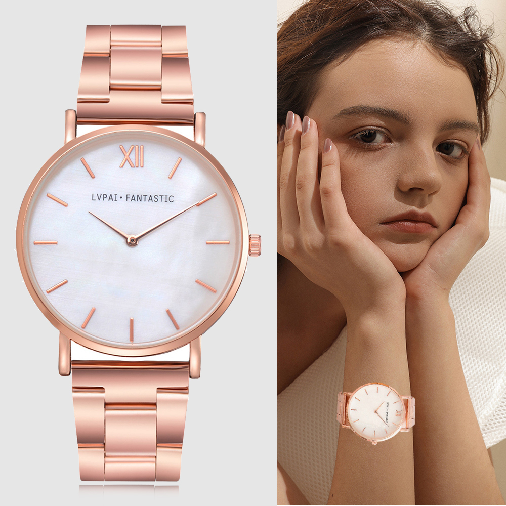 Lvpai Watch Women Fashion Rose Gold Stainless Steel Ladies Watch Luxury Marble Dial Women's Watches reloj mujer relogio feminino 2016 new ladies fashion watches decorative grape no word design gold watch stainless steel women casual wrist watch fd0107