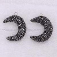 Fashion Dark moon shape pendants beads druzy charms Pave Rhinestones necklace pendants jewelry finding bead 2376