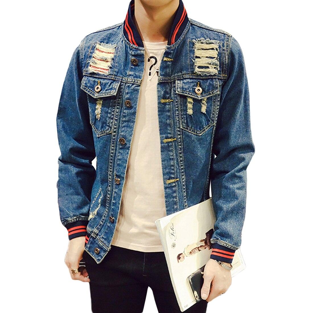 2017 Fashion Slim Denim Jacket Men Long Sleeve Patchwork Jeans Hole Coats Summer Plus Size 5XL Steampunk Bomber Jackets Blue Top