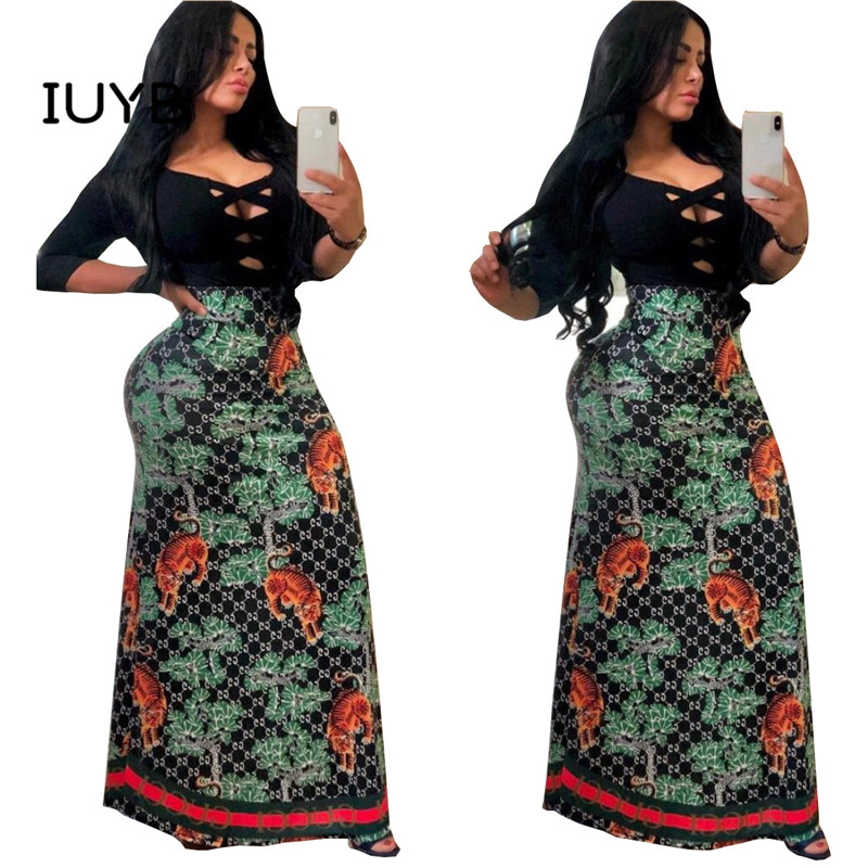 IUYB 2019 new summer women hot sale high street wind skirt elastic printed green loose floor-length long skirt GYC11822(China)