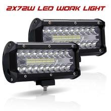 Led Light Bar Offroad 4x4 7 Inch 120W Led Work Lights for Tractors Spot Flood Combo Beam Triple Row Led Fog Lamp Driving Lights