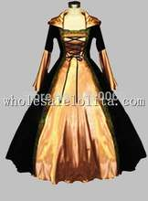 Gothic Black & Champagne Euro Court Princess Dress Witch Costume
