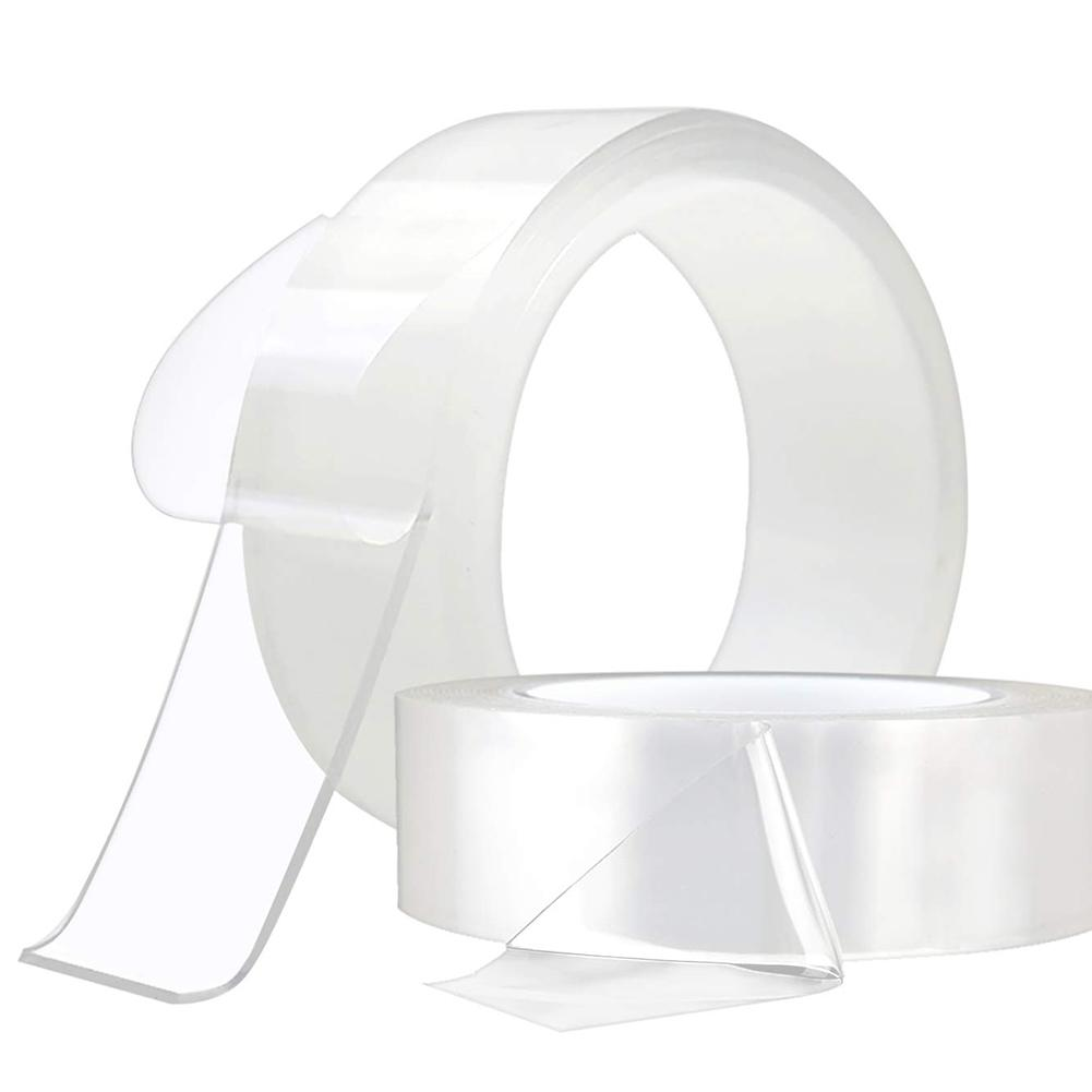 1 Roll Reusable Double Sided Adhesive Tape Acrylic Clear Washable Strong Adhesive Nano Tape No Trace Removable Anti Slip Tape 20