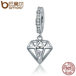 BAMOER Genuine 925 Sterling Silver Shining Heart Crystal Pendant Beads fit Women Bracelets DIY Jewelry Gift SCC186
