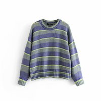 Fashion Multi Colors Striped Sweater Ribbed Cuffs Women O Neck Knitted Pullovers Long Sleeve Casual Knitwear Feminine