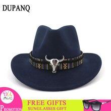 5c338b15 Casual Woolen Cowboy Hats Unisex Vintage folk custom Headwear Cap Western  Cowboy Hat Fashion Jazz Cap