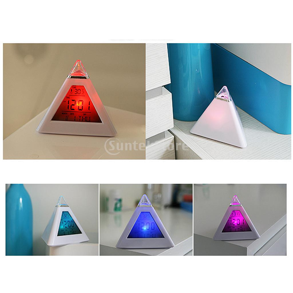 Cute 7 LED Changing Color Cone Shape Digital LCD Alarm Desk Clock Thermometer