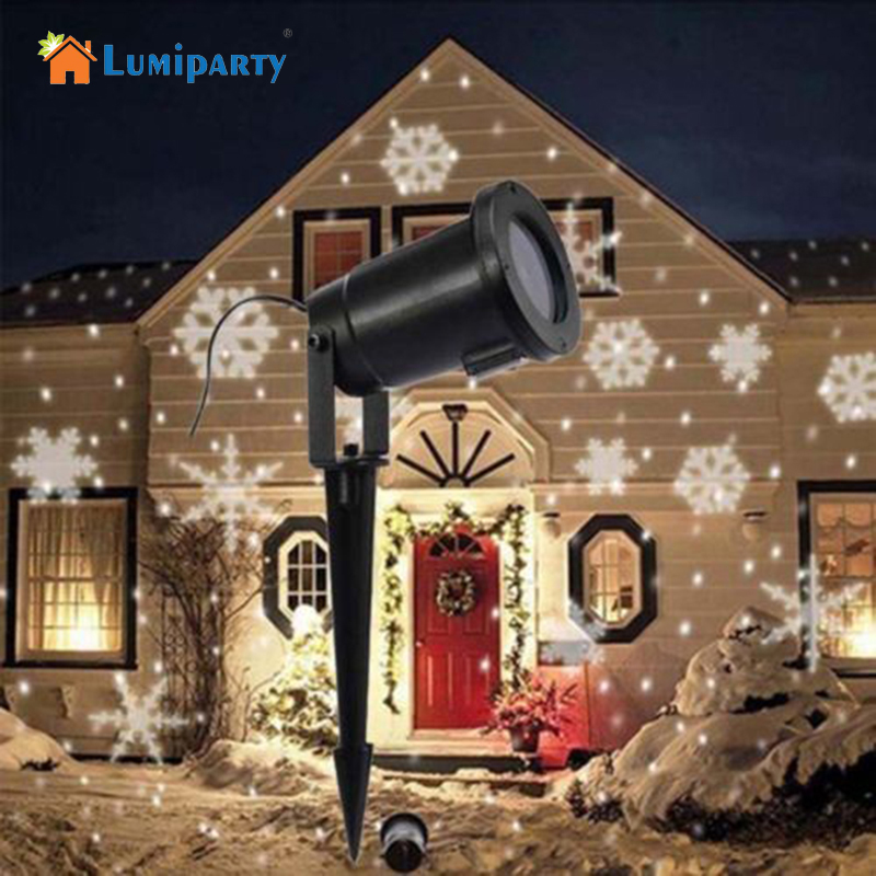 Lumiparty Waterproof Moving Snow Laser Projector Lamps Snowflake LED Stage Light For Christmas New Year Party Light Garden Lamp