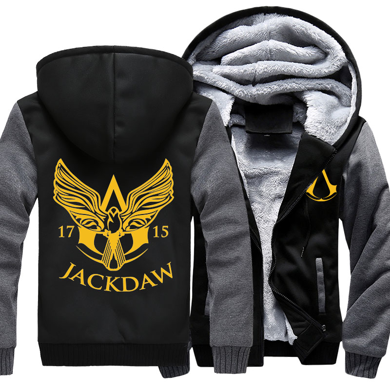 2018 NEW Men Assassins Creed Jacket Print Hoodies Sweatshirts Winter Thicken Fleece Warm Coats ...