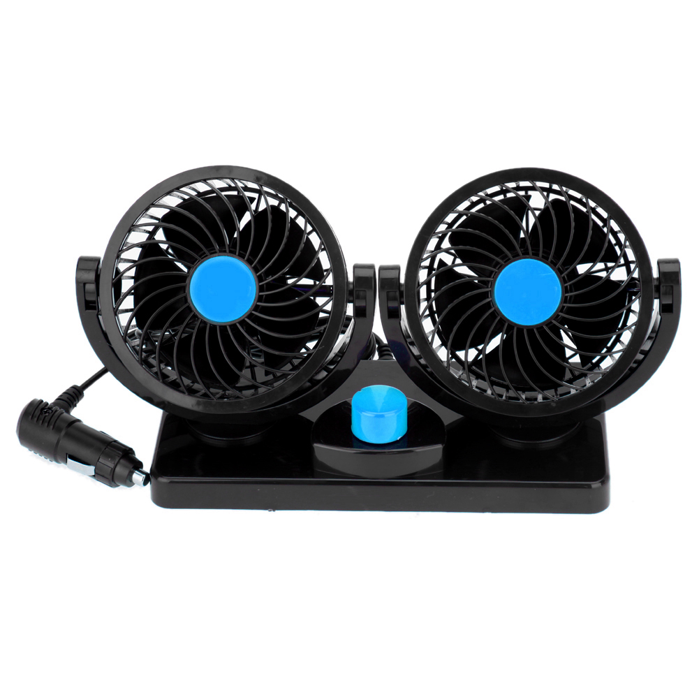 GRTCO Car 360 Degree All-Round Adjustable 2 Speed Strong Cooler Fan 12V Dual Head Cooling Car Fan Blue+Black For Summer