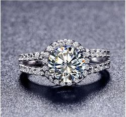 TR009 Hot Sale White Gold Color 2 carat 8mm SONA simulated Gem Engagement rings,ring for women Free Shipping