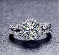 TR009 Hot Sale White Gold Color 2 Carat 8mm SONA Simulated Gem Engagement Rings Ring For