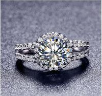 Tr009熱い販売ホワイトゴールドカラー2カラット8ミリメートルsona模擬宝石婚約指輪、リング女