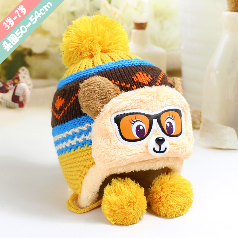 Lovely Glasses Bear Children's Caps Bonnet Beanies Knitted Hat Skullie Hats Warm Winter Girls Protect the Ears Warm Caps 2017 2017 of the latest fashion have a lovely the hat of the ear lovely naughty lady s hat women s warm and beautiful style