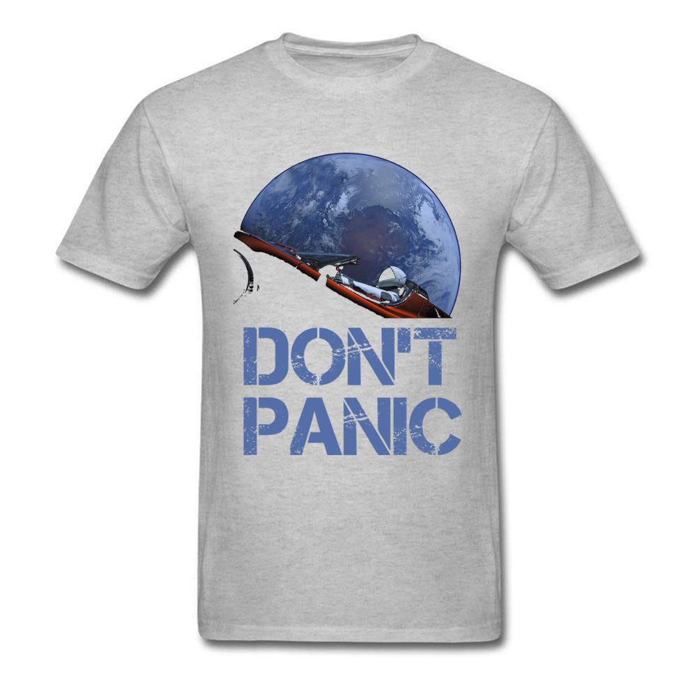 Dont Panic Starman O-Neck T Shirts Summer Tops Tees Short Sleeve New Coming All Cotton Gift Tops T Shirt Europe Men Dont Panic Starman grey