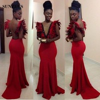 Red Feathers Mermaid Evening Dresses Illusion V Neck Backless Sexy Party Dresses Long Celebrity Evening Gown