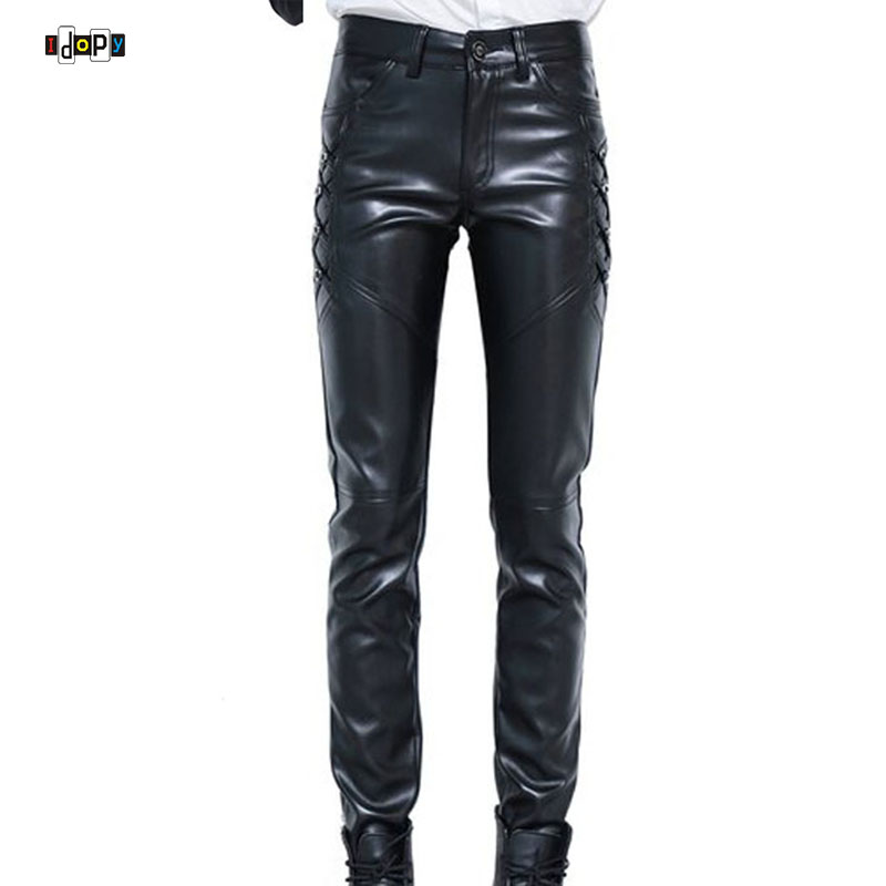New Mens Elastic Faux Leather Pants PU Motorcycle Ridding Black Slim Fit Dance Party Trousers Biker Leather Pants For Male