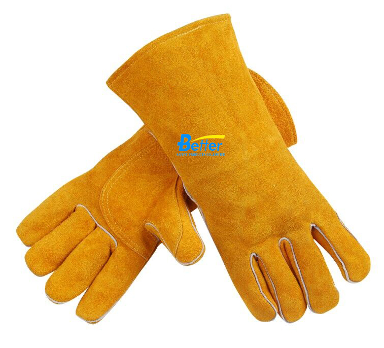 14 inch MIG  Safety Glove Split Cow Leather Welding Work Glove leather safety glove deluxe tig mig leather welding glove comfoflex leather driver work glove