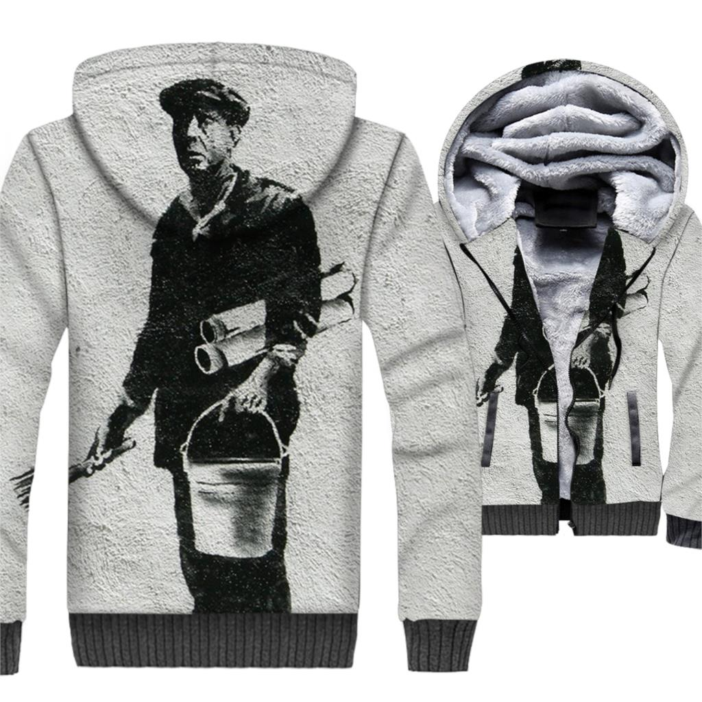 Banksy funny 3D printed man 39 s clothing casual streetwear hip hop jackets coats 2019 winter wool liner Graffiti tracksuits men in Hoodies amp Sweatshirts from Men 39 s Clothing