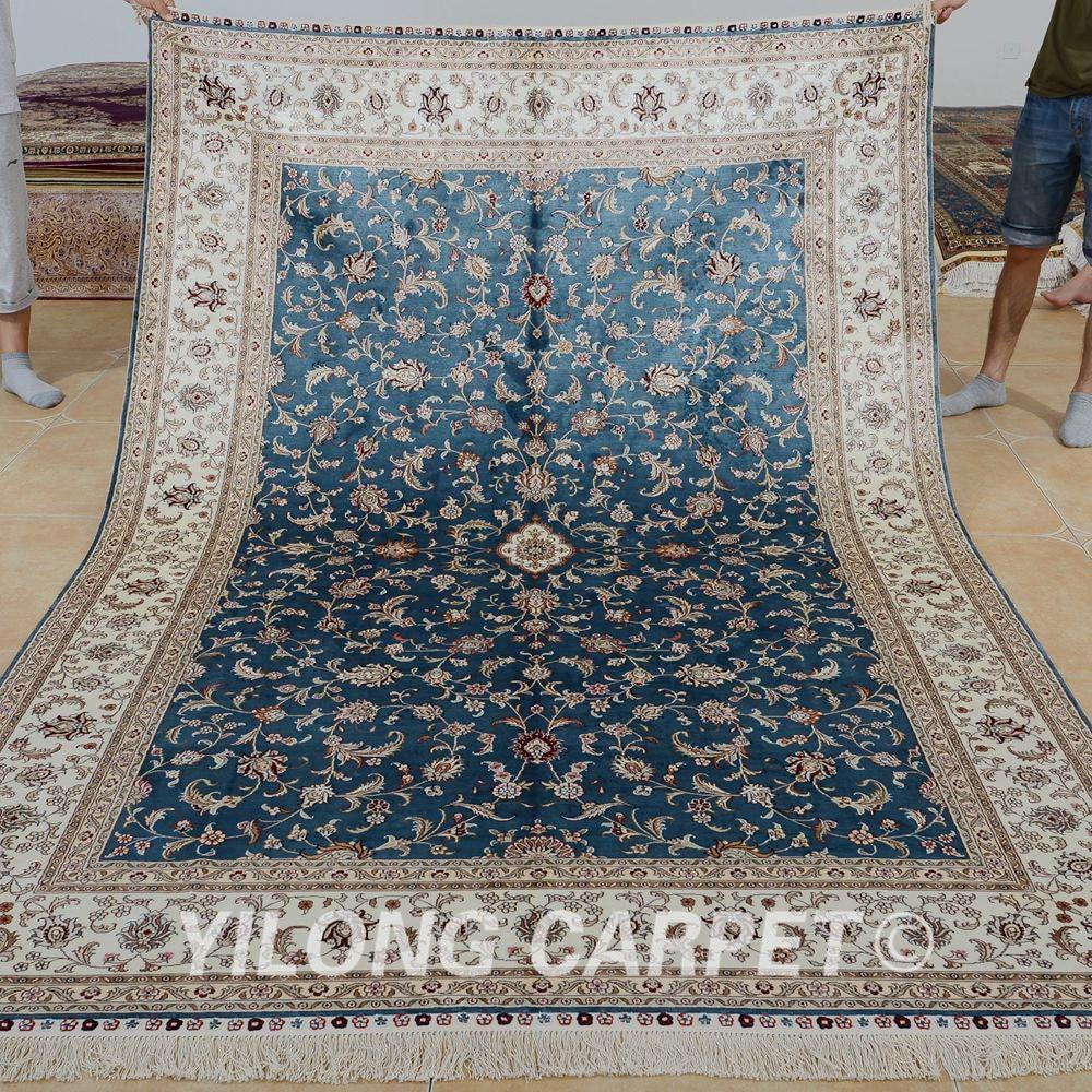 Hereke Silk Rug Youtube: Yilong 6'x9' Living Room Blue Handmade Carpet Vantage