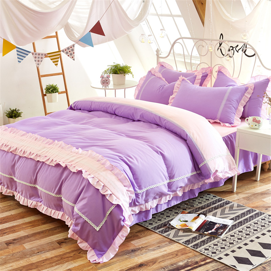 Purple Ruffled lace Bedding Sets Kids Girl adults Modern Bed Linen Princess 4pcs Bed Skirt Pillowcase Queen king Size BedclothesPurple Ruffled lace Bedding Sets Kids Girl adults Modern Bed Linen Princess 4pcs Bed Skirt Pillowcase Queen king Size Bedclothes