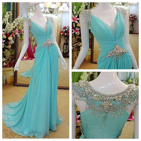 Custom made Luxury Cap Sleeves Crystal Beading Court-Train Blue women Party Gown Long   Prom     Dress   Evening   Dresses   for 2015
